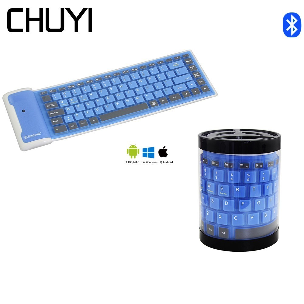 Wireless Bluetooth Keyboard Foldable Roll Up Silent 87key Keypads Soft Silicone Flexible Teclado For PC Huawei Iphone Tablet