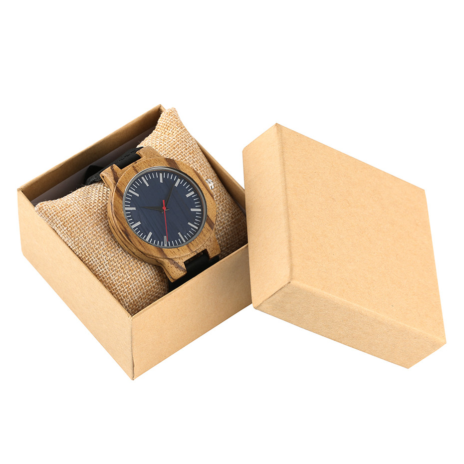 Blue Dial Zebra Wood Men Wrist Watch Quartz Clock Creative Watches Man Genuine Leather Band Wristwatch Man Hour male Gifts Box