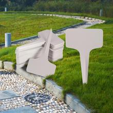 50Pcs lastic Plant Markers T-type Tags Markers Nursery Garden Labels Gray Outdoor Garden Decoration Seedling Tray Mark Tools