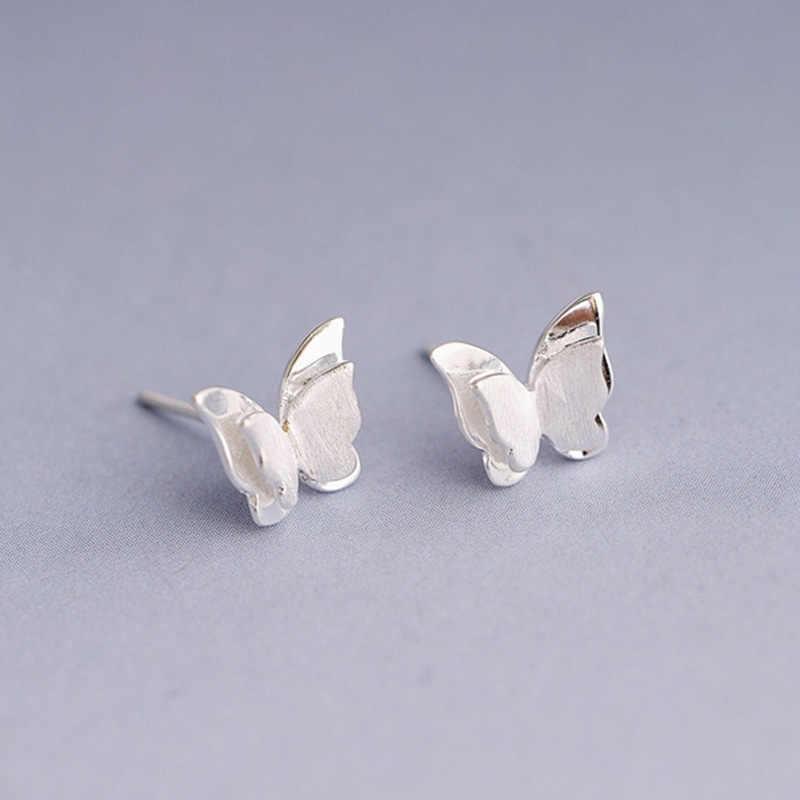 2019 New Arrival moda biżuteria piękne stadniny kolczyki małe walentynki, prezent Drawbench Butterfly śliczne srebrne kobiety 1 para dziewczyny