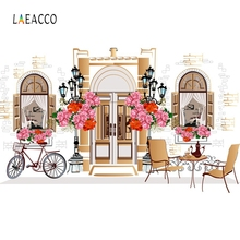 Laeacco City Streets Coffee Shop Flowers Bicycle Backdrop Photography Background Custom Photographic Backdrops For Photo Studio tye die muslin custom photo background photographic studio background backdrop children theme photography backdrops f163