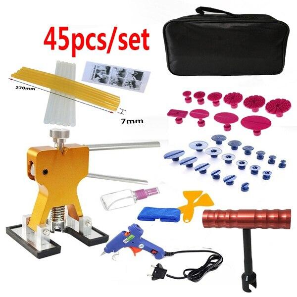 45 pièces/ensemble métal Pdr Dent Lifter-colle extracteur onglet 20W colle Machine grêle enlèvement sans peinture voiture Dent réparation outils Kit