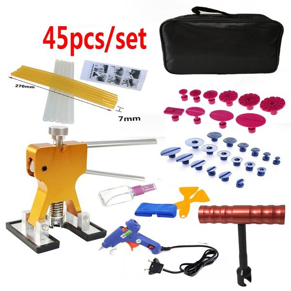 45Pcs/Set Metal Pdr Dent Lifter-Glue Puller Tab 20W Glue Machine Hail Removal Paintless Car Dent Repair Tools Kit
