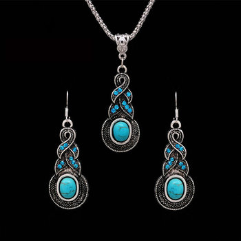 Bohemian Tibetan Silver Color African Beads Crystal Necklace Earrings  Jewelry Sets