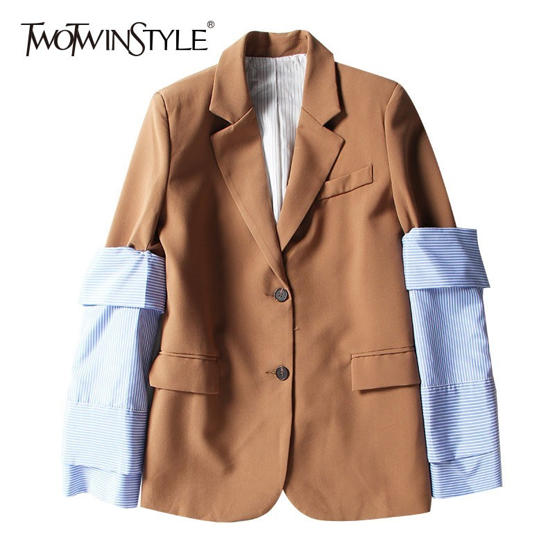 TWOTWINSTYLE Patchwork Detachable Striped Sleeve Blazer Coat Female Back Split Large Size Womens Suit 2019 Spring Casual Fashion