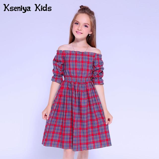 Kseniya Kids Dresses For Girls Dress Long Sleeve Cotton Plaid Girls Summer Dress Princess Girl Party Dress Baby Girl Clothes