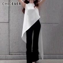 CHICEVER Chiffon Women Tops And Blouse Female Shirts O Neck Sleeveless Asymmetric Hem White Blouses Women Fashion Clothes New
