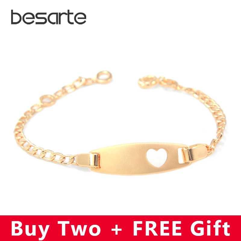8076e5198256 17cm Heart Baby Bracelets Gold Chain Bangles Bracelet Bebe Pulseira Pulsera  Bracelete Bracciali Ninas Girls Boy