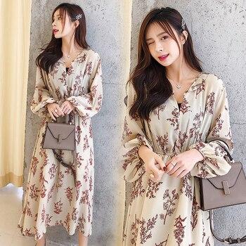 7092e2a79d Albaricoque flor elegante vestido 2019 nueva primavera de las mujeres con  cuello en V de manga larga estampado Floral largo de gasa vestidos de S-XL  ropa ...