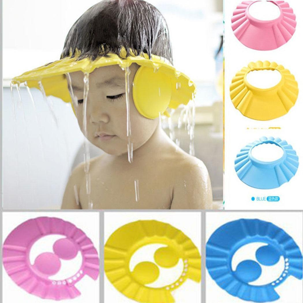 New Cute Safe Shampoo Shower Bathing Protect Soft Cap Hat For Baby Children Kids Yellow, Pink, Blue