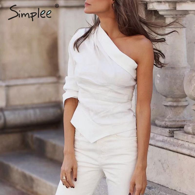 Simplee Casual one shoulder crop white blouses shirt Summer style solid fashion ladies tops Streetwear sexy blouses and tops