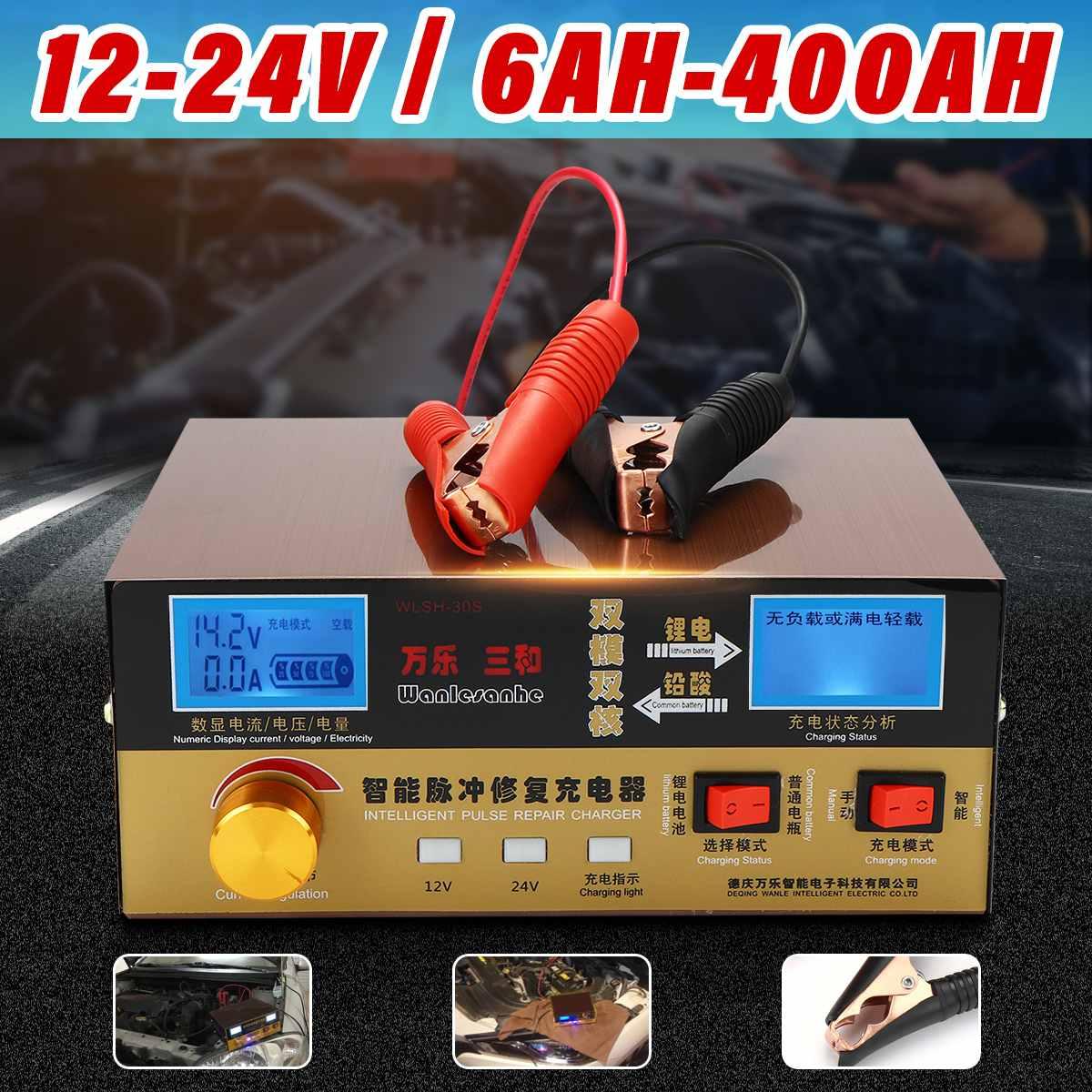 110 V-250 V 12 V/24 V 6AH-400AH chargeur de batterie de voiture automatique Type de réparation d'impulsion intelligente surchauffe court-Circuit protection inverse
