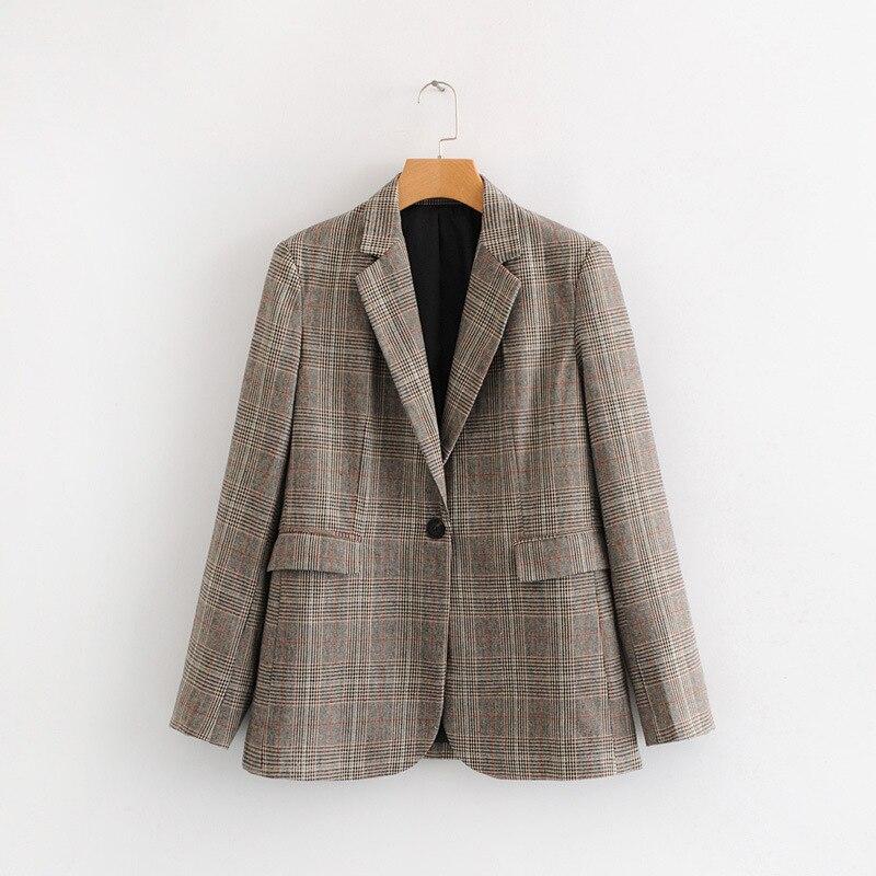 2018 Frühling Und Herbst Neue Casual Mode Elegant Schlank Karierten Anzug Retro Revers Vielseitig Pendler Jacke Frauen