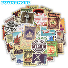 50 PCS Retro Stamp Stickers Toy Travel Landmark Building Postmark Postage Decals Sticker for DIY Suitcase Guitar Laptop Car Bike