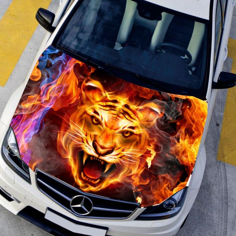 Car styling HD jet d'encre Brûler Tigres Capot autocollants de voiture Étanche De Protection film Animal autocollants 135*150 cm Changement de couleur film