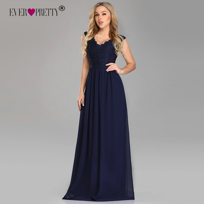 2020 Evening Dress Long Ever Pretty Sexy Lace Beading A-line Chiffon Sleeveless Long Party Gowns For Wedding Guest Abendkleider