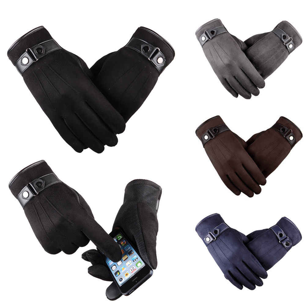 87c0e001e Men Winter suede fabric Warm Thermal Glove Mittens Touch Screen Gloves  Outdoor Ski Gloves Waterproof work