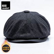 2018 autumn and winter mens beret warm ear protection middle-aged hat plus velvet thick dual-use leisure forward cap 14131