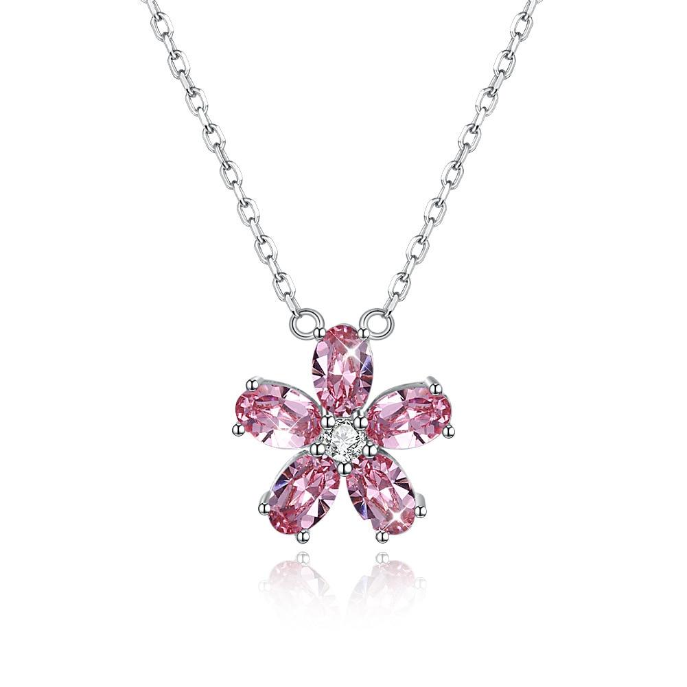 Collier pendentif en pierre rose véritable 925 en argent Sterling avec fleur en cristal pour femmes bijoux de mariage + boîte-cadeau