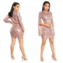 MUXU fashion pink sequin dress long sleeve woman clothes vestidos party bodycon jurken autumn ladies dresses glitter
