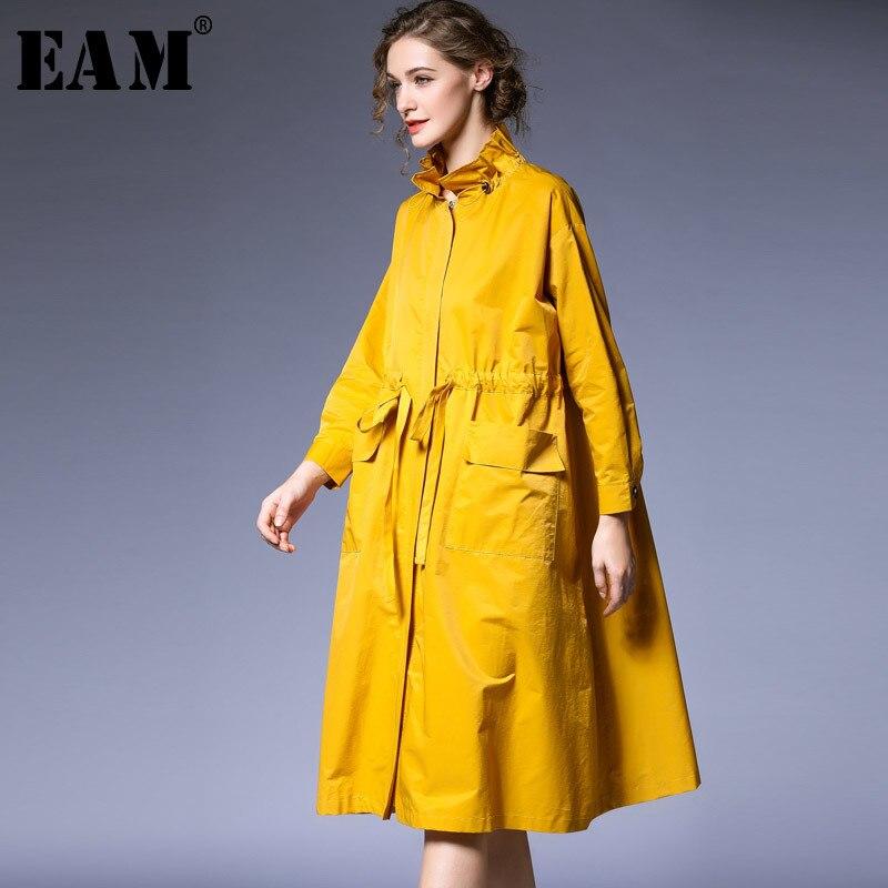 [EAM] 2019 New Spring Satnd Collar Long Sleeve Black Loose Ruffles Drawstring Big Size Windbreaker Women   Trench   Fashion JO403