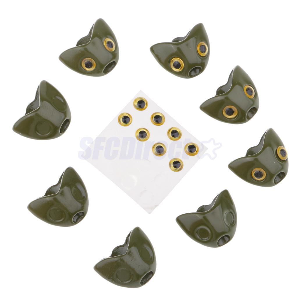 Fish Head 3D Fishing Lure Eyes Fly Tying Jig DIY Craft 8 Set