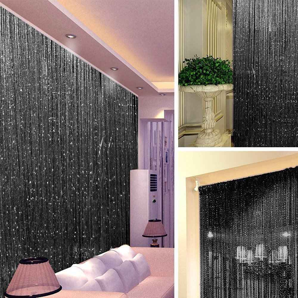 Shiny String Curtain Glitter tassel line curtains Panel with Bead for Door Window Living Room bedroom home Decor white black
