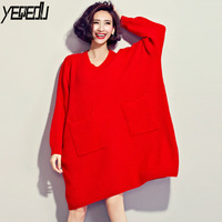 #2009 Autumn Thin Knitwear Women Sweaters And Pullovers Fashion Big Size Red/Black/Blue V neck Pockets Pull Femme Oversized Tide