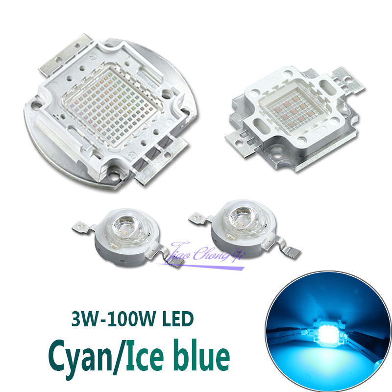High Power <font><b>LED</b></font> Cyan <font><b>490nm</b></font> Ice Bulb 480nm Chip 3W 5W 10W 20W 30W 50W 100W 480nm 490 nm Ice Blue DIY COB <font><b>LED</b></font> Epileds image