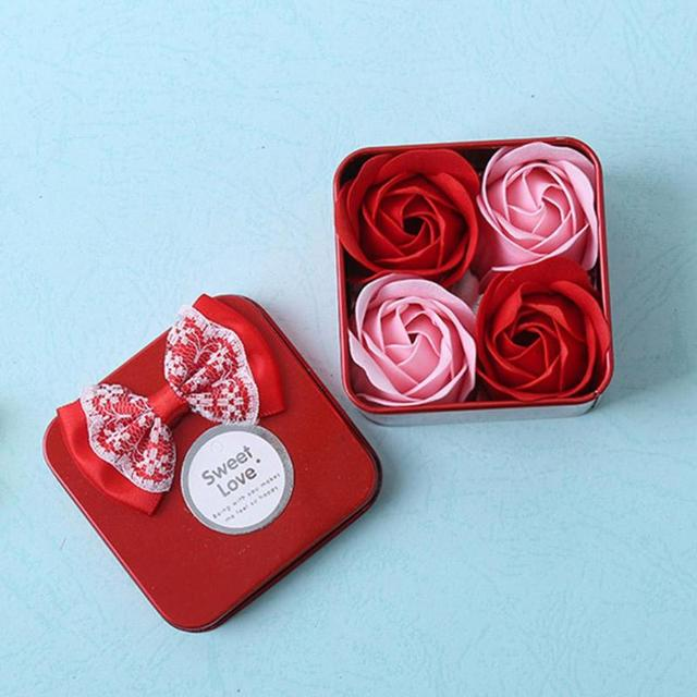 4Pcs Scented Bath Body Rose Flower Soap Wedding Decoration Valentine's Day Gift For Girlfriend Rose Soap Flowers With Box