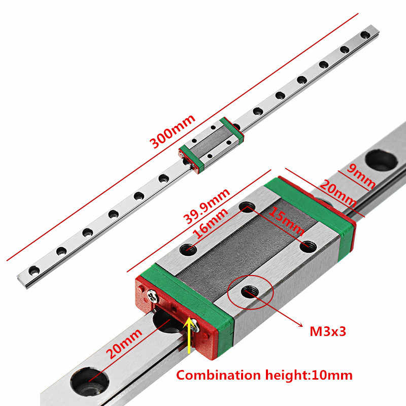 "Suleve 1 יחידות 300 מ""מ אורך ינארית מדריך Rail עם MGN9H ליניארי רכבת בלוק תובלה חליפת עבור מחוון בלוק 3D מדפסת CNC חלקי"
