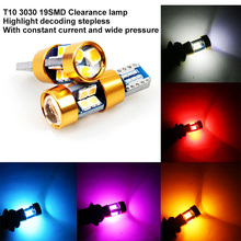 цена на 2PCS T10 LED canbus W5W 194 Interior Xenon White LED CANBUS NO OBC ERROR t10 19SMD 3030 with Lens Projector Aluminum