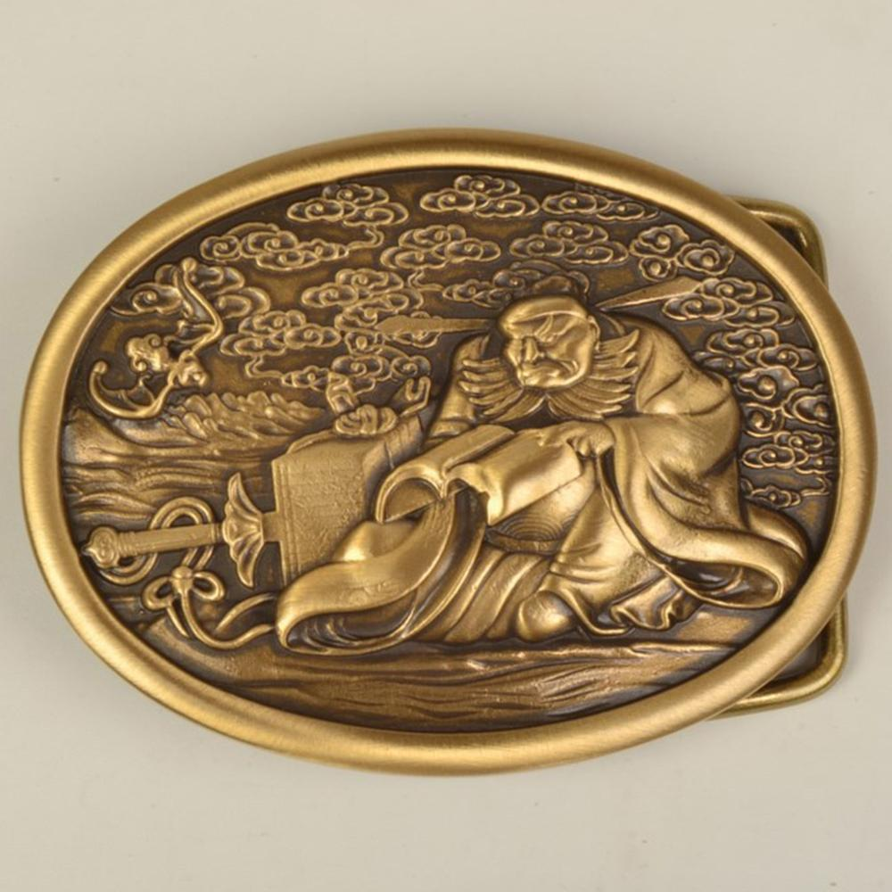 CUKUP Unique Design 3D Chinese Reading Pattern Male Old Styles Smooth Gold Mens Belt Buckles Solid Brass Metal for Men BRK057