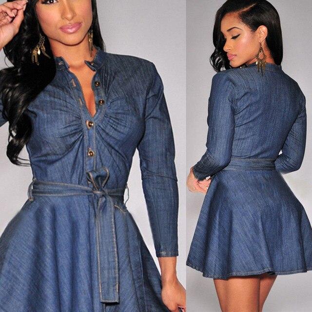 Denim Miniskirt Long Sleeve Dress 2