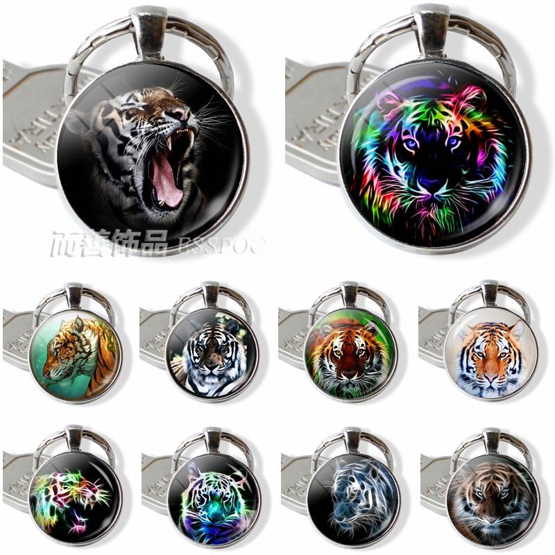 Tiger Animal Glass Dome Keychain Cabochon Metal Key Chain Ring King Of The Forest Fashion Accessories Jewelry Pendant Gift