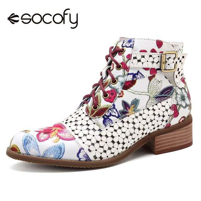 Socofy Retro Bohemian ผู้หญิงฤดูใบไม้ร่วงพิมพ์รองเท้าหนังแท้ Vintage รถจักรยานยนต์ Booties รองเท้าผู้หญิงรองเท้าผู้หญิงใหม่
