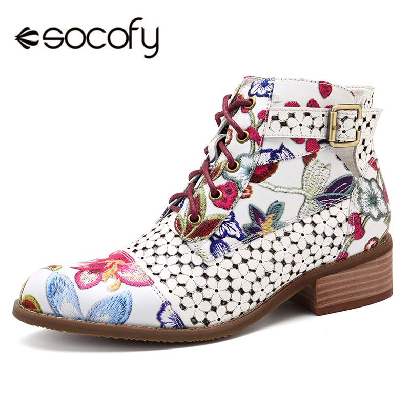 Socofy Retro Bohemian Women Boots Autumn Printed Genuine Leather Ankle Boots Vintage Motorcycle Booties Ladies Shoes Woman New