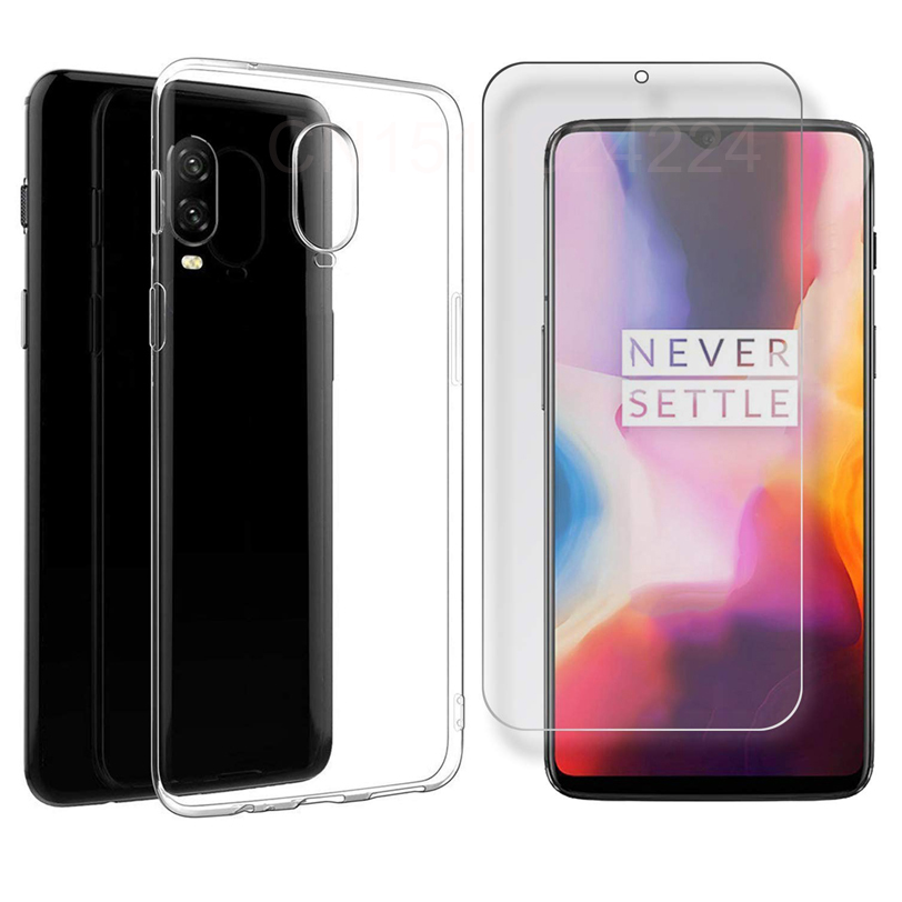 For <font><b>Oneplus</b></font> 6T Soft Silicone TPU Case Cover For One Plus <font><b>OnePlus</b></font> 6T 6 5T 5 <font><b>A6013</b></font> A6000 A5010 A5000 Case + Tempered Glass 1+ 6T image