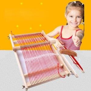 Image 1 - Diy の伝統的な教育耐久性のある編機手芸ギフト子供木製フレーム簡単操作おもちゃ織機