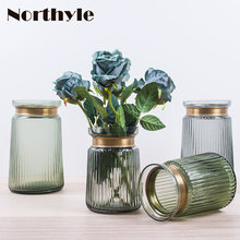 America golden neck theme glass vase wedding decoration artificial flower home flowerpot
