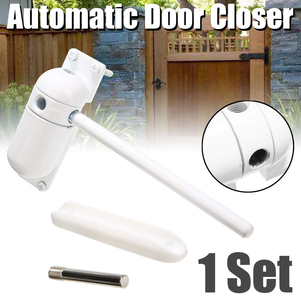 1 Set White Automatic Gate Closer Surface Mounted Door Stops Outdoor Garden Home Use Spring Adjustable Door Closer Fire Rated1 Set White Automatic Gate Closer Surface Mounted Door Stops Outdoor Garden Home Use Spring Adjustable Door Closer Fire Rated