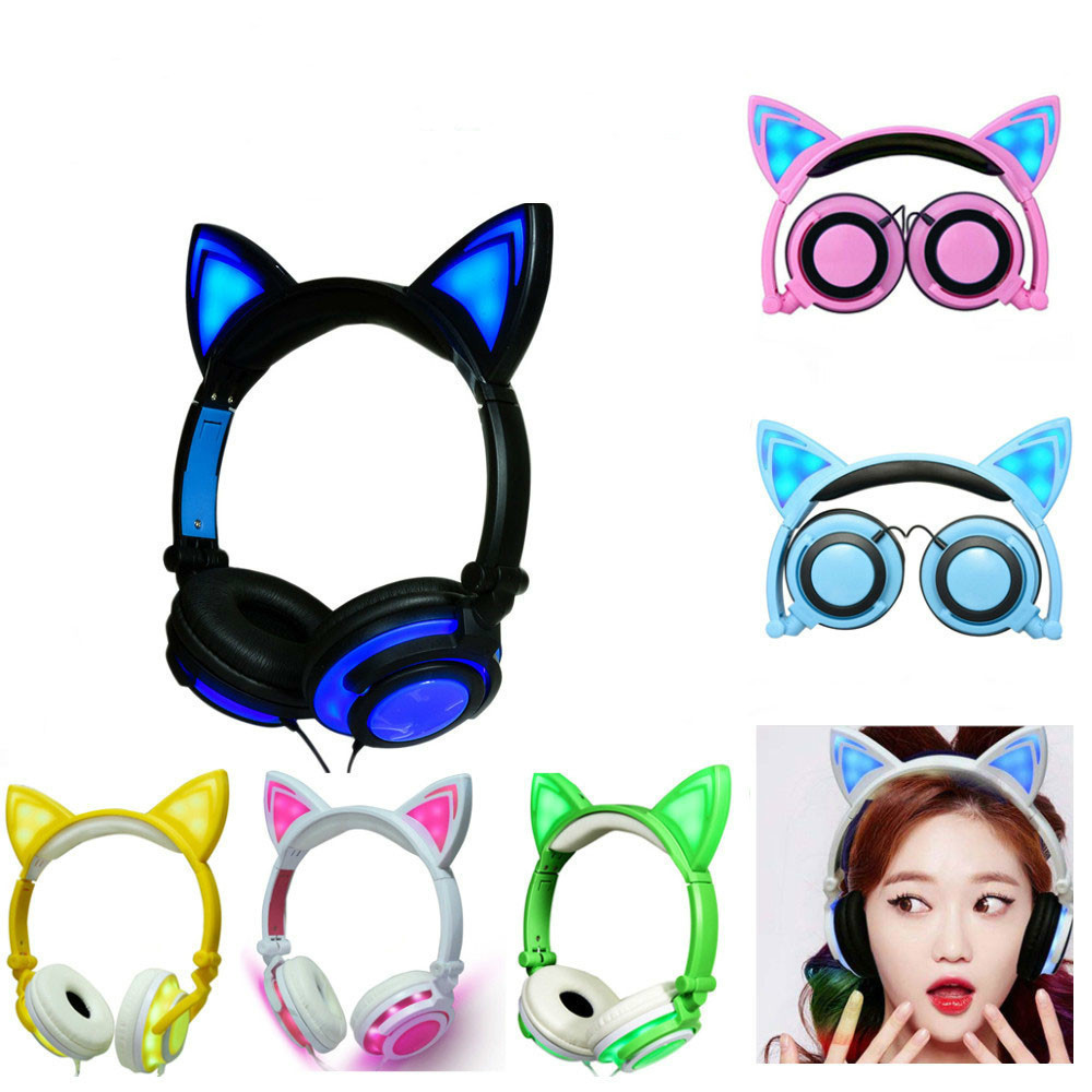 Yijee Cat Ear Led Headphones With Led Flashing Glowing Light Headset Gaming Earphones For Pc Computer And Mobile Phone in Headphone Headset from Consumer Electronics