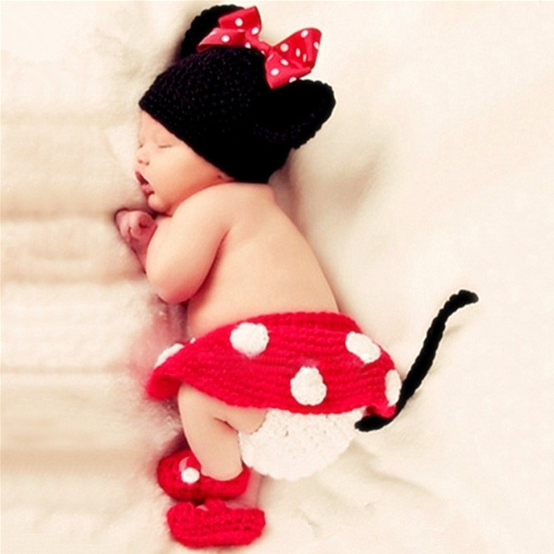 Baby Photography Props Accessories Crochet Knit Minnie Photography Clothing Baby Girl Hat+Skirt+Shoes 4pcs/Set Baby Photo Props