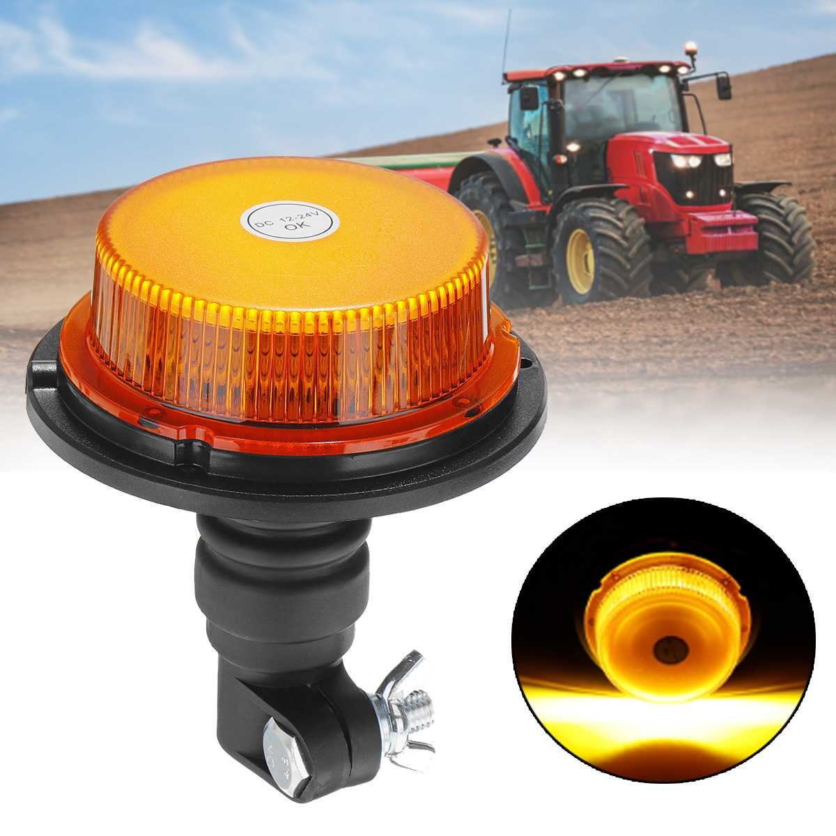 New 12-24V Car Truck Strobe Warning Signal Light 18 LED Flashing Emergency Lights Beacon Lamp For Agricultural Vehicle Tractor