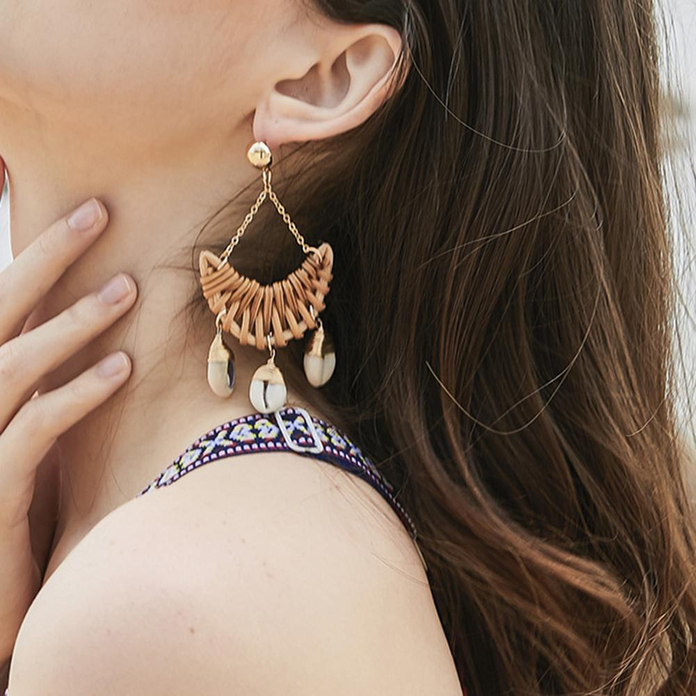 Ambitieus Hot Fashion Vintage Retro Vrouwen Boho Handgemaakte Weven Rotan Shell Moon Lange Dangle Stud Dames Beach Party Club Oorbellen Decor