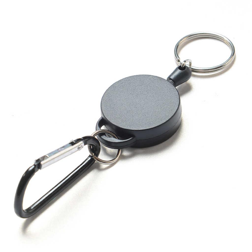 4 Buah Recoil Dapat Diperpanjang Baja Kawat Gantungan Kunci Cincin Klip Sabuk Tarik Pemegang Hook Ketahanan Tali Kawat Baja Elastis Alarm gantungan Kunci