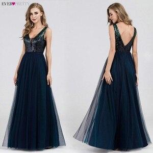 Image 3 - Элегантные вечерние платья с длинным рукавом и v образным вырезом, вечерние платья трапециевидной формы без рукавов с блестками EP07910NB, блестящие вечерние платья 2020