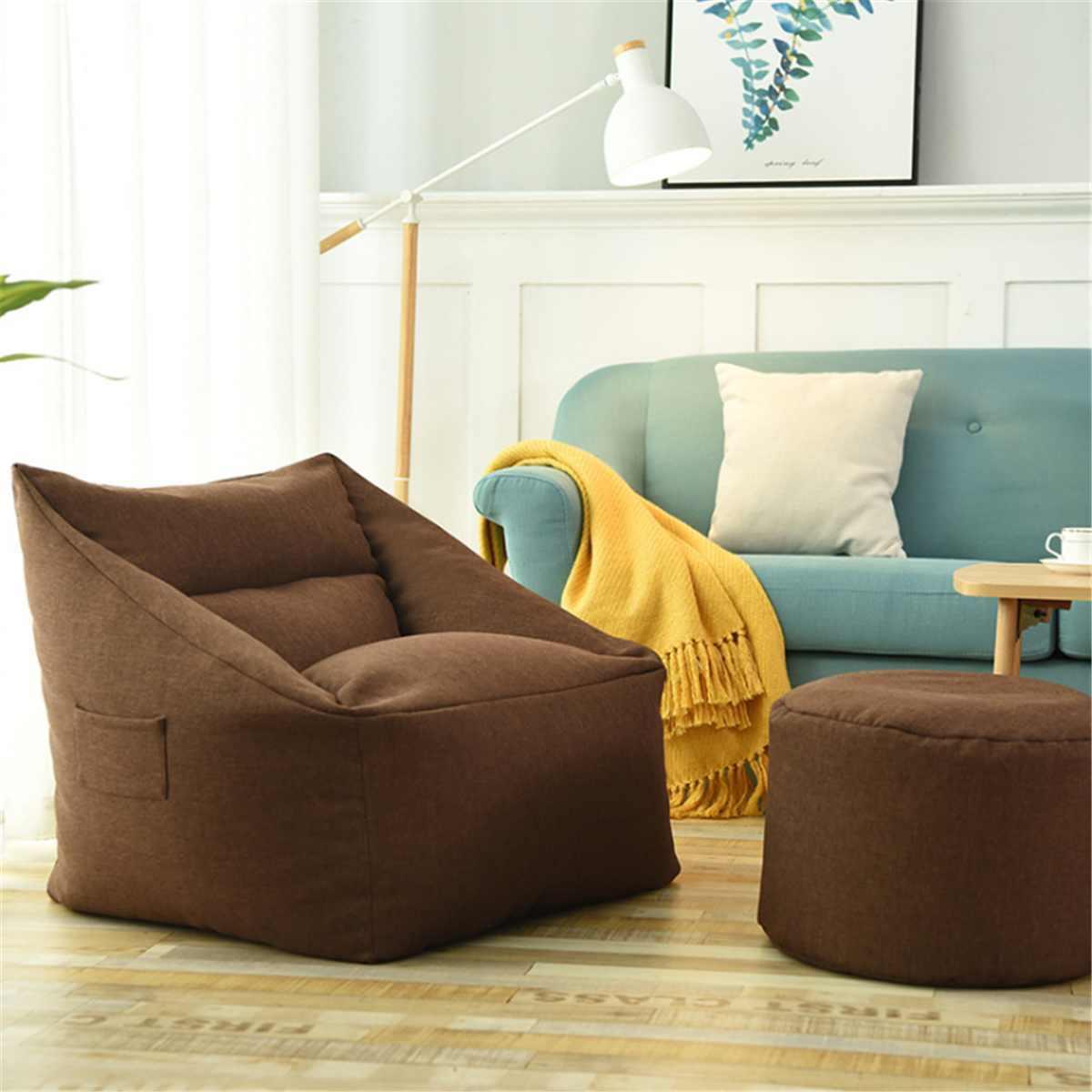 À prova d' água do Saco de Feijão Sofás Beanbag Lavável Tampa Da Cadeira Sofá Preguiçoso Cadeira Coberta Grande Tampa do Saco de Feijão Poltrona Aconchegante Jogo Amarelo