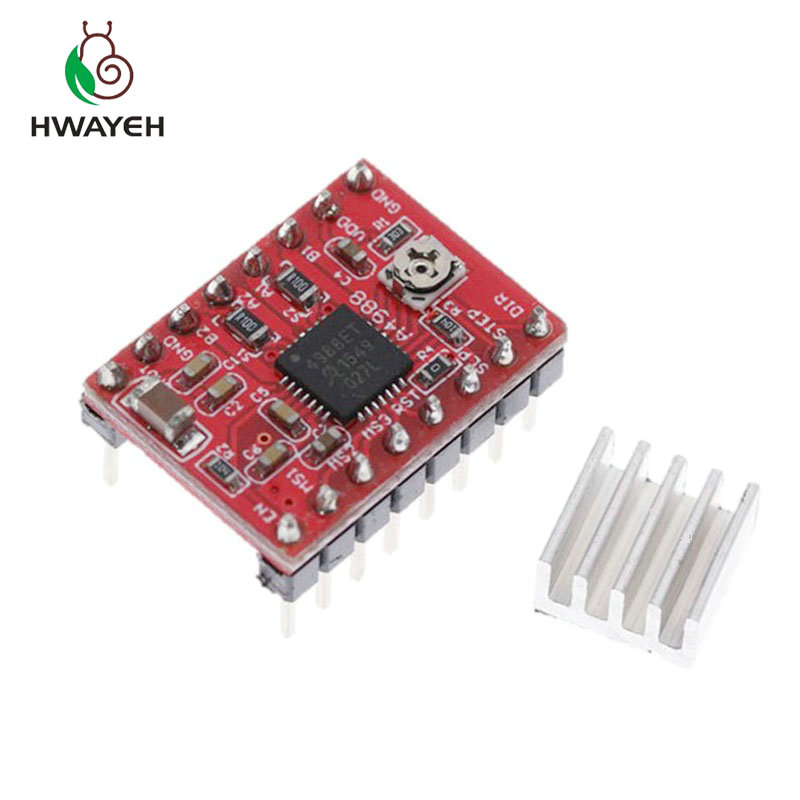 1pcs Reprap Stepper <font><b>Driver</b></font> A4988 Stepper <font><b>Motor</b></font> <font><b>Driver</b></font> Module with Heatsink for arduino image