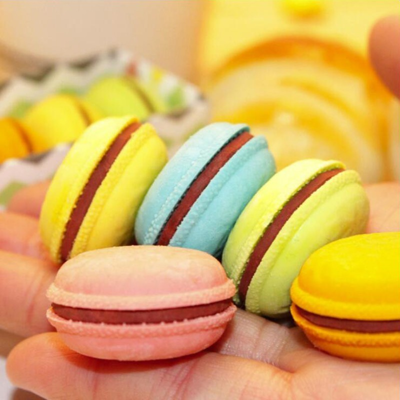 Pencil Rubber Eraser Round Macaron Different Colored Mixed Soft Office Stationery And School Supplies Eraser 1PCS